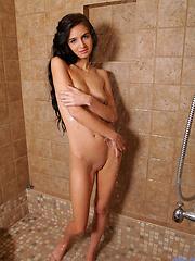 Fresh brunette teen get naked