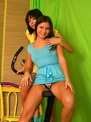 Two horny lesbian chicks playing with big dildos