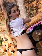 Very sexy teenager undressing naked in the woods