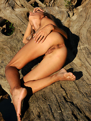 Shelli bares her sexy, tanned body as she strips outdoors.