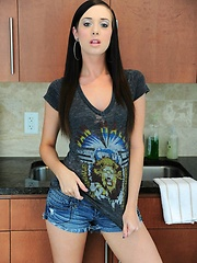 Amanda goes wild in the kitchen with her new thick dildo