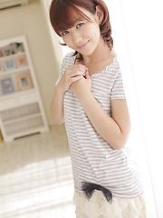 Asian redhead girl Nina Sakuma showing her shaved pussy