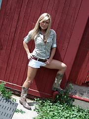 Wonderful girl Madden photo set near the barn