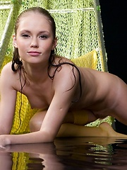 Cute russian girl Caesaria in wet stockings