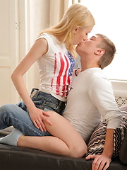 Attractive blonde teen gets her pussy fucked all positions
