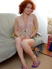 Massive hairy vagina fondled hard by a hot teen redhead