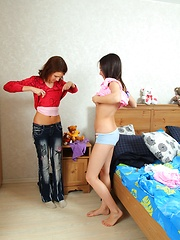 Horny winter teenagers exploring their sexy naked bodies