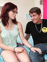 Big juicy round fat ass horny teen redhead gets fucked and filled wiht cum