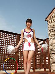 Yuuri Shiina Asian has hot curves in cheerleader outfit and heels