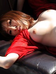 Kurara Horie Asian takes red bra off and shows juicy boobies