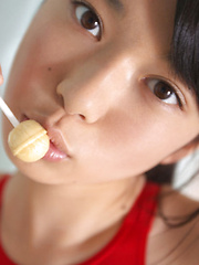 Tomoe Yamanaka Asian in long socks loves to play with candy