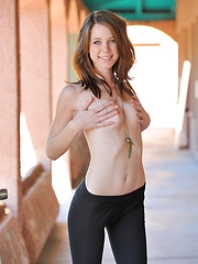 Allie in capri tights gets naked in public