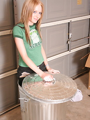 Cute blonde teen Skye strips out of her Oscar the Grouch shirt and boxes and teasing with her perky tits