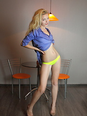 Blue shirt, yellow panties
