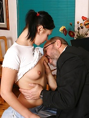 Voluptuous brunette coed satisfies her teacher