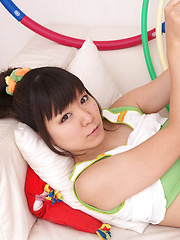 Ayana Tanigaki Asian takes clothes off while playing with balls