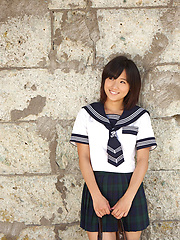 Yuzuki Hashimoto Asian in sailor gal uniform is playful outdoor