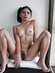 Young Vilma strips from her school uniform to finger her tight pussy
