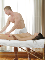 Super hottie Nessa Shine gets a sensual wet massage and then gives her man a stiffie ride in her dripping bald pussy