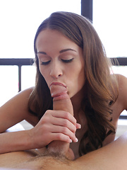 Naughty coed Kacy Lane gets her man hard with a hot blowjob then gives him a stiffie ride in her bald creamy pussy