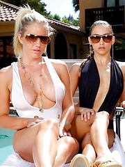 3 hot girls play with each other poolside big tits and pussy sucking watch it go down