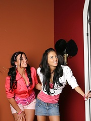 Hot teen jackie and her girl bang a lucky  dude in these hot teen bedroom 3some pics and big 3 minute movie