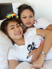 Two tight-ass Thai babes share cock in MFF threesome