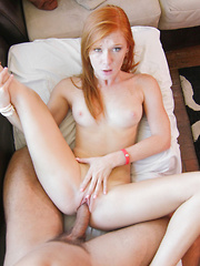 Tiny little redhead stretches her pussy with a vibrator to get it ready for a cock.