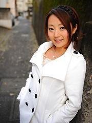 Hot girl You Shiraishi poses outdoor in coat
