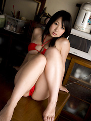 Rui Kiriyama Asian shows very hot bum and very big tits in red
